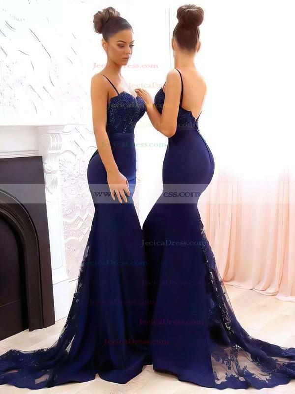 Trumpet/Mermaid Sweetheart Tulle Silk-like Satin Sweep Train Appliques Lace Bridesmaid Dresses #JCD010020105493