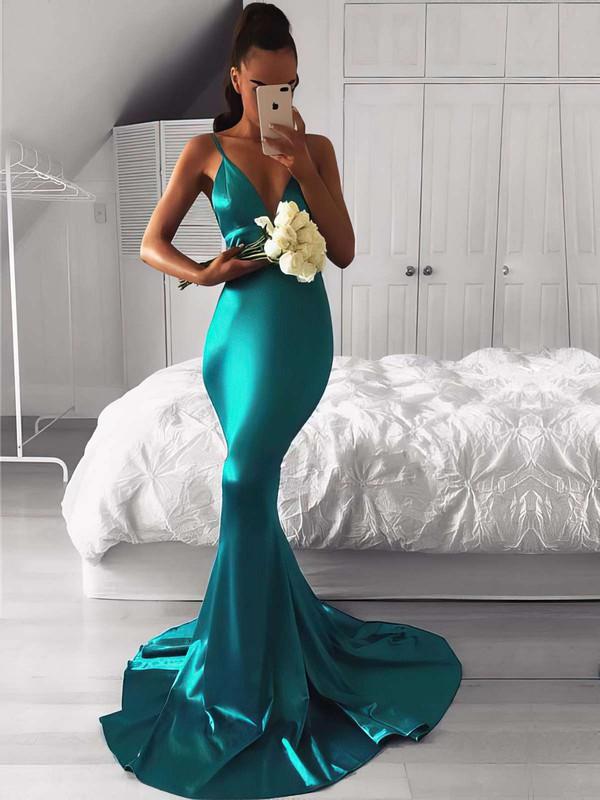 Trumpet/Mermaid V-neck Silk-like Satin Sweep Train Bridesmaid Dresses #JCD010020105513