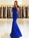 Trumpet/Mermaid One Shoulder Satin Floor-length Draped Bridesmaid Dresses #JCD010020105742