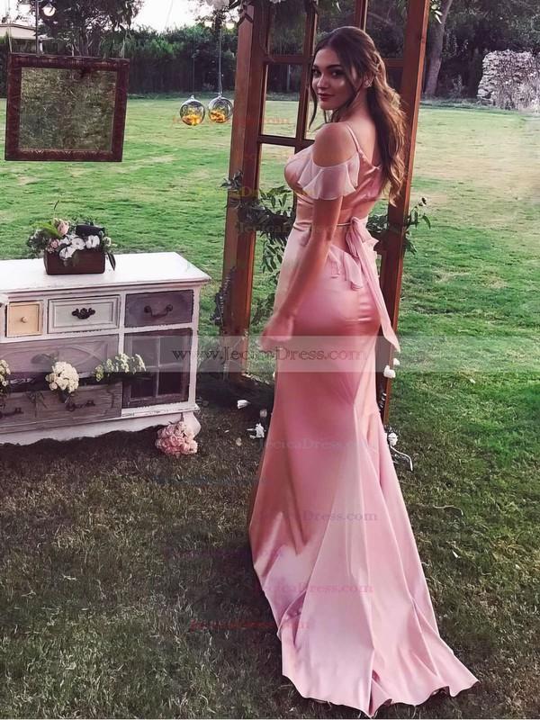 Sheath/Column V-neck Silk-like Satin Sweep Train Draped Bridesmaid Dresses #JCD010020105751