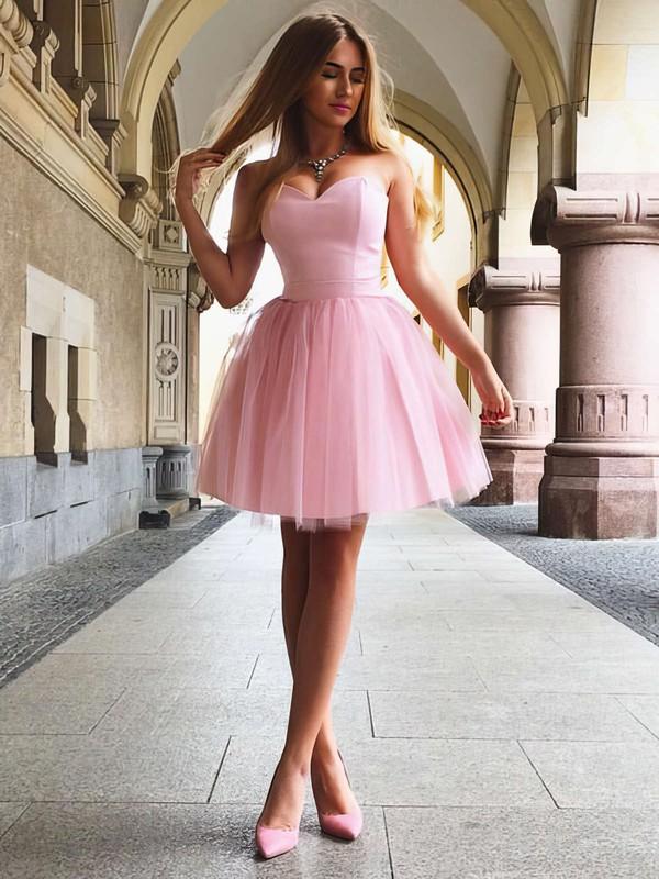 A-line Sweetheart Satin Short/Mini Ruffles Bridesmaid Dresses #JCD010020105931