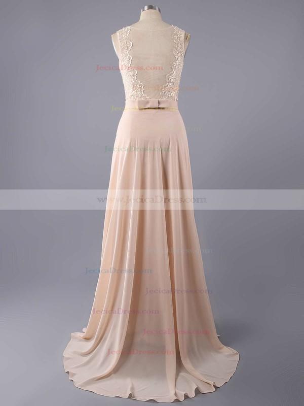 A-line Bateau Chiffon Floor-length Lace Bridesmaid Dresses #JCD01002014904