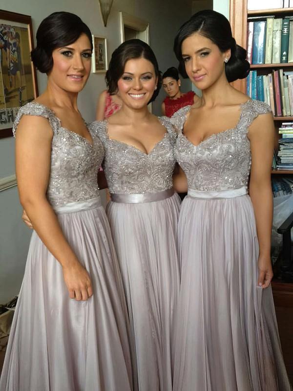 A-line Straps Chiffon Floor-length Appliques Bridesmaid Dresses #JCD01002015284