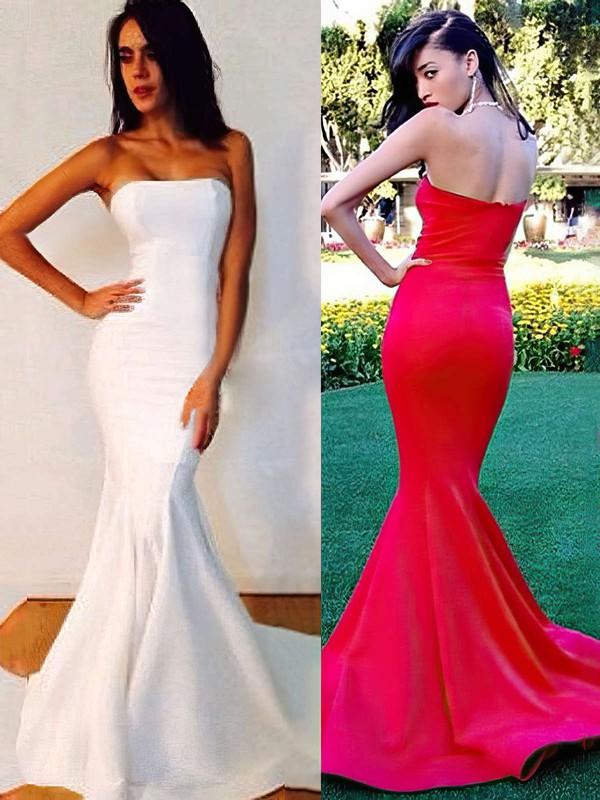 Trumpet/Mermaid Strapless Silk-like Satin Sweep Train Ruffles Bridesmaid Dresses #JCD01002016264