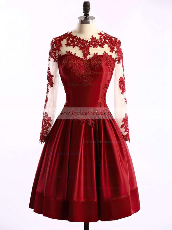 Gorgeous Elastic Woven Satin Tulle Appliques Lace Burgundy Short/Mini Long Sleeve Bridesmaid Dresses #JCD01002016430