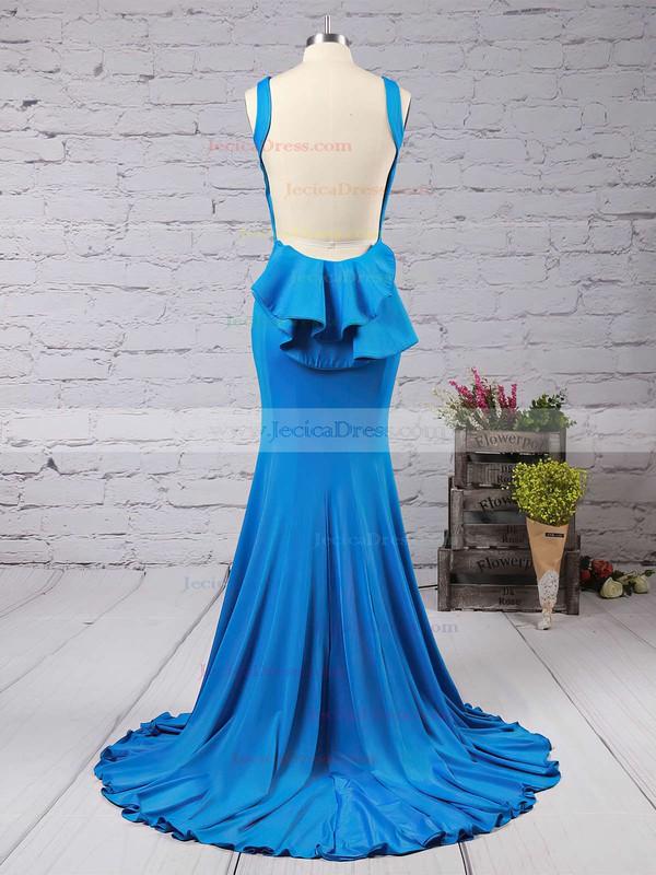 Trumpet/Mermaid Scoop Neck Jersey Sweep Train Ruffles Bridesmaid Dresses #JCD01002016910