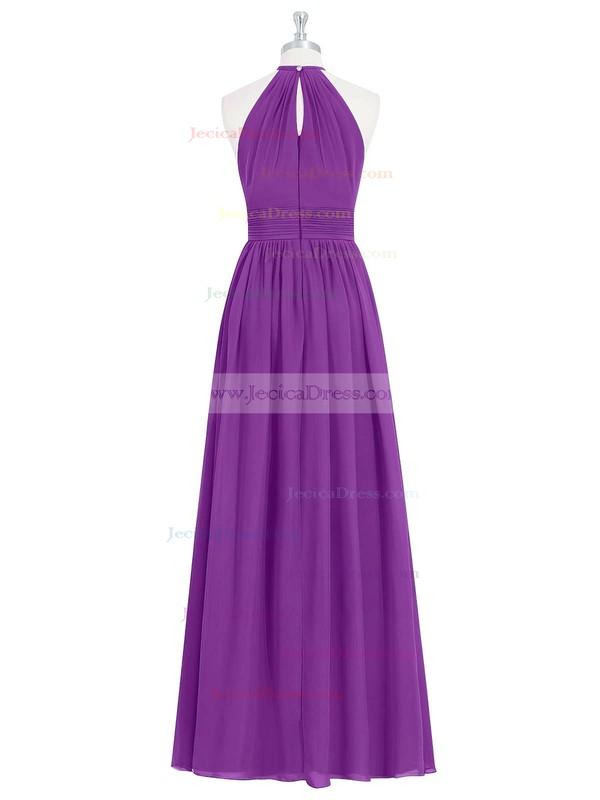 Chiffon A-line Halter Floor-length Ruffles Bridesmaid Dresses #JCD01013731