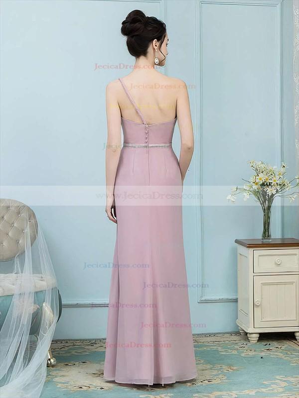 Chiffon Sheath/Column One Shoulder Floor-length Sashes / Ribbons Bridesmaid Dresses #JCD01013757