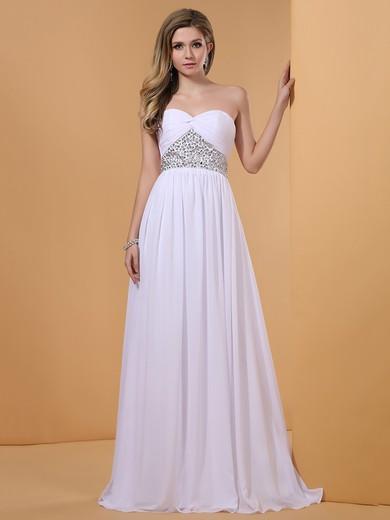 Popular Floor-length Crystal Detailing White Chiffon Sweetheart Prom Dress #JCD02014352