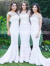 Jersey Trumpet/Mermaid One Shoulder Sweep Train Flower(s) Bridesmaid Dresses #JCD01013733