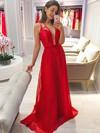 Lace Chiffon A-line V-neck Sweep Train Bridesmaid Dresses #JCD01013736