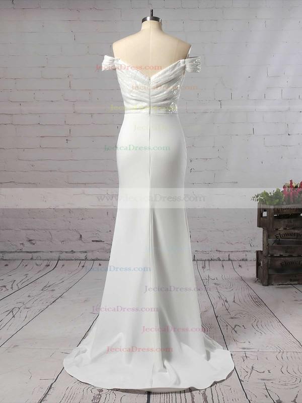 Sequined Silk-like Satin Trumpet/Mermaid Off-the-shoulder Sweep Train Ruffles Bridesmaid Dresses #JCD01013743