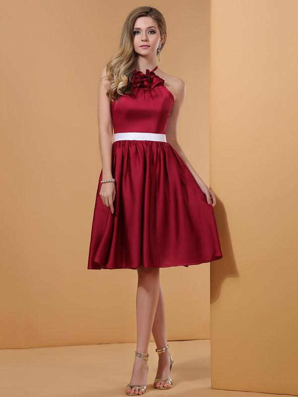 Burgundy Original Satin With Ruffles Knee-length Halter Prom Dresses #JCD02051663