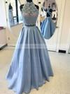 Floor-length High Neck Princess Beading Lace Satin Prom Dresses #JCD020105044