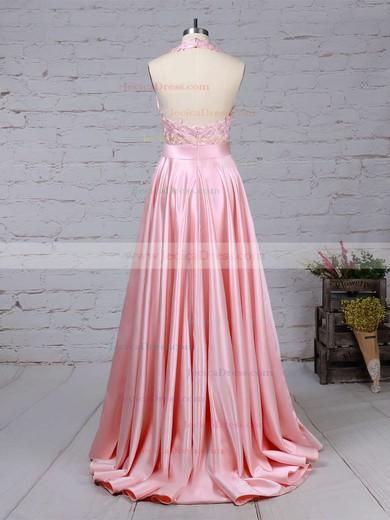 Sweep Train Halter Princess Appliques Lace Taffeta Prom Dresses #JCD020105085