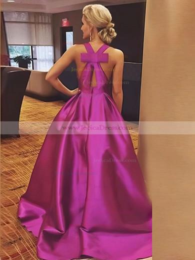 Floor-length V-neck A-line Bow Elastic Woven Satin Prom Dresses #JCD020106112
