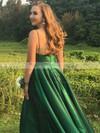 Satin A-line V-neck Floor-length Prom Dresses #JCD020106385