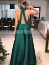 Satin A-line V-neck Floor-length Bow Prom Dresses #JCD020106389