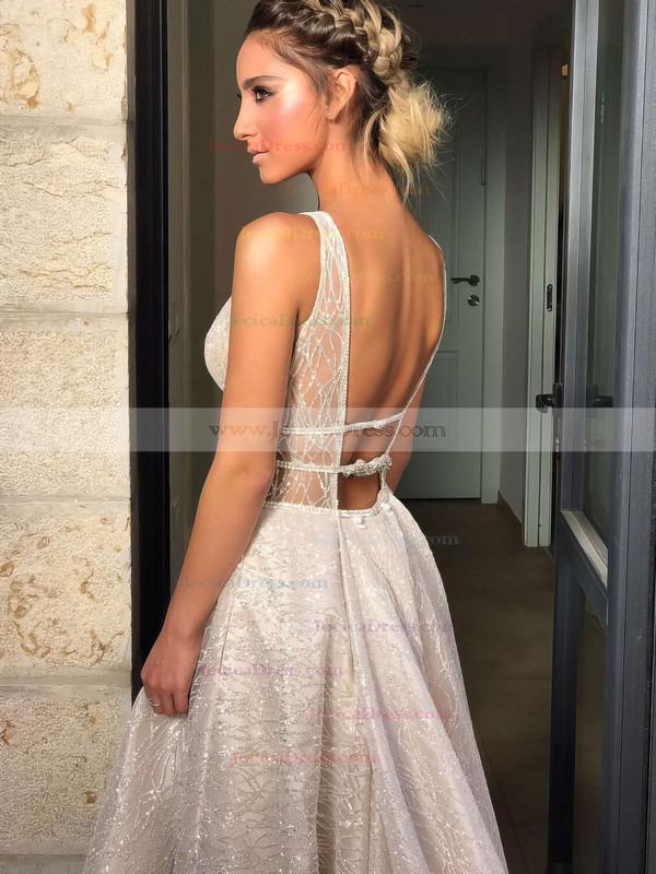 Lace Princess V-neck Sweep Train Pockets Prom Dresses #JCD020106393