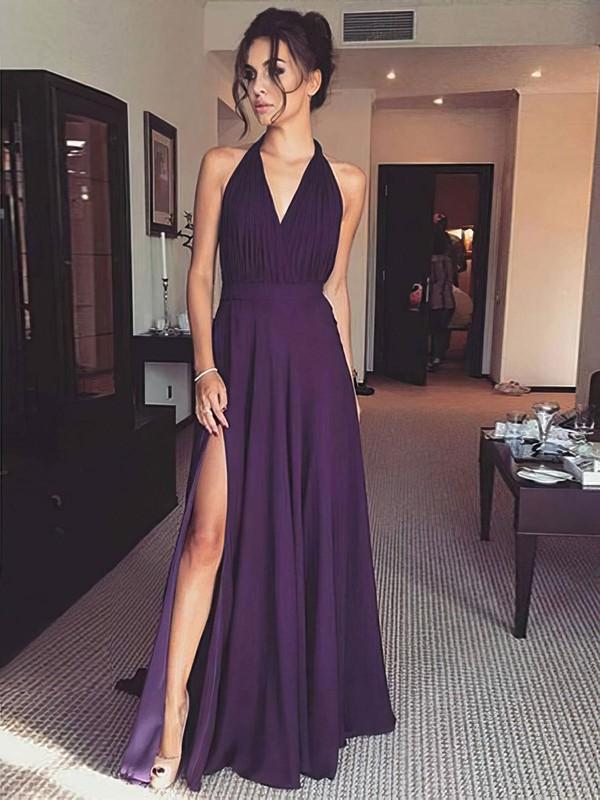 Chiffon A-line Halter Floor-length Split Front Prom Dresses #JCD020106394