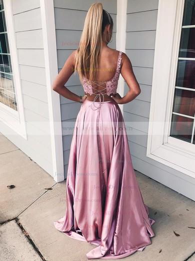 Lace Silk-like Satin A-line Square Neckline Sweep Train Pockets Prom Dresses #JCD020106398