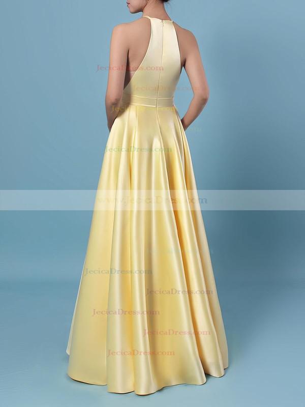 Satin Princess Halter Floor-length Pockets Prom Dresses #JCD020106399