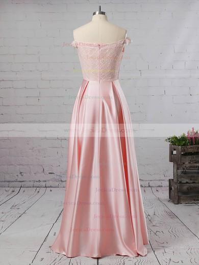 Lace Satin A-line Off-the-shoulder Floor-length Prom Dresses #JCD020105042