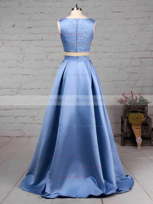 Satin Princess Scoop Neck Floor-length Beading Prom Dresses #JCD020105049
