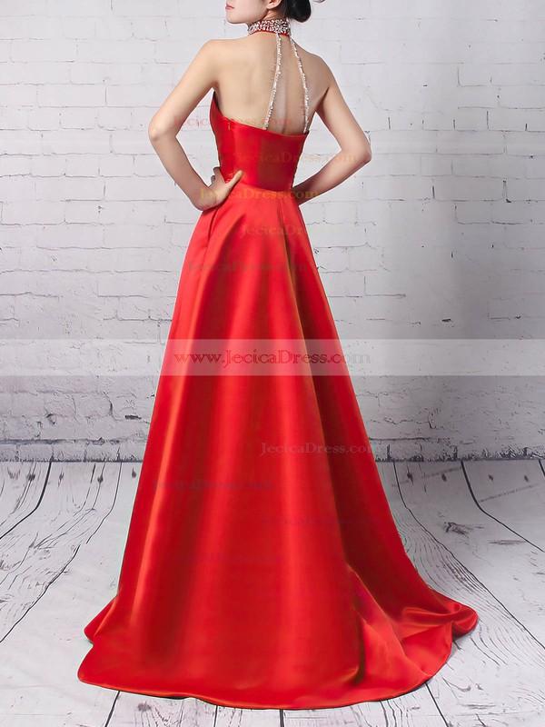 Satin Princess High Neck Sweep Train Beading Prom Dresses #JCD020105066
