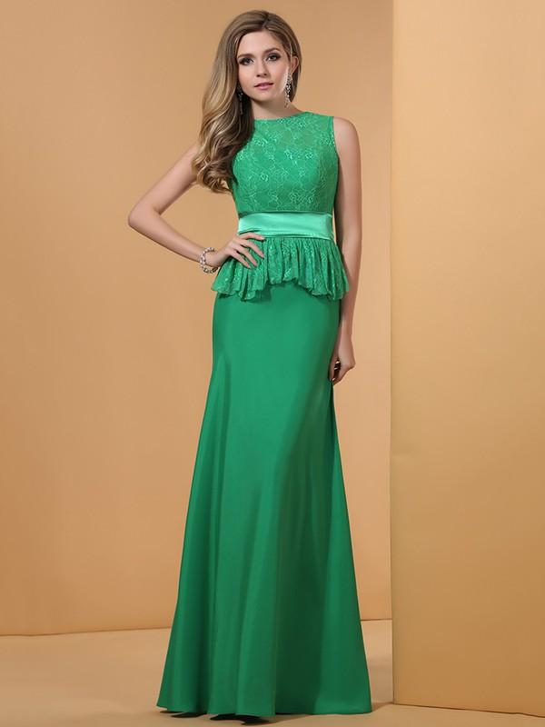 Custom Green Lace Silk-like Satin Scoop Neck Sashes / Ribbons Sweep Train Prom Dresses #JCD02023196