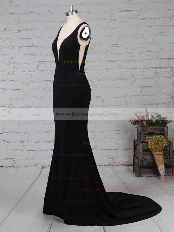 Jersey Sheath/Column V-neck Sweep Train Prom Dresses #JCD020105112