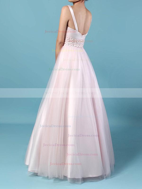 Tulle Ball Gown V-neck Floor-length Beading Prom Dresses #JCD020105114