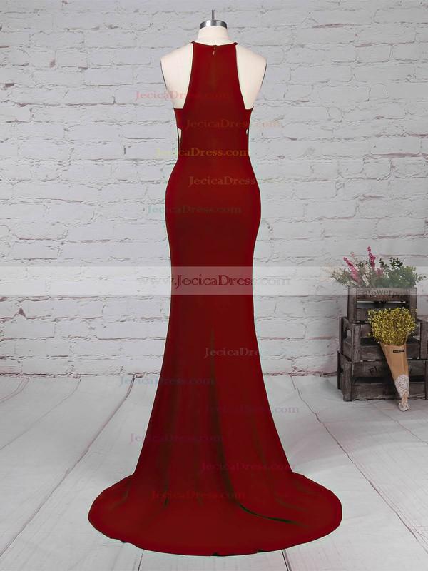 Jersey Trumpet/Mermaid Scoop Neck Sweep Train Split Front Prom Dresses #JCD020105838
