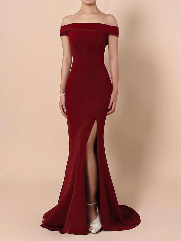 Silk-like Satin Sheath/Column Off-the-shoulder Floor-length Split Front Prom Dresses #JCD020105840