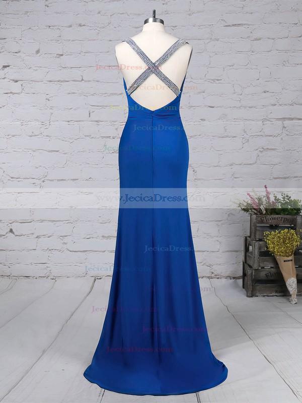 Jersey Sheath/Column V-neck Sweep Train Beading Prom Dresses #JCD020105844
