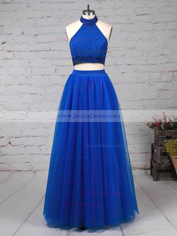 Tulle A-line Halter Floor-length Beading Prom Dresses #JCD020105845