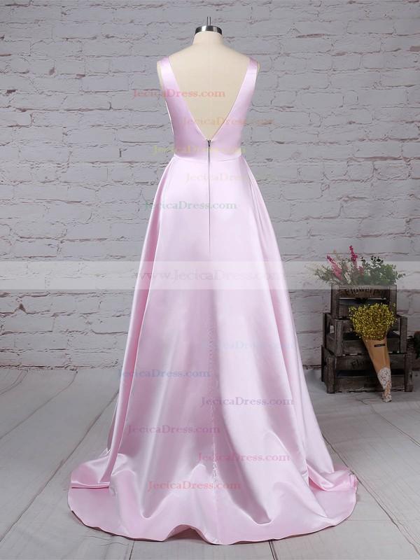 Satin Princess V-neck Sweep Train Pockets Prom Dresses #JCD020105849