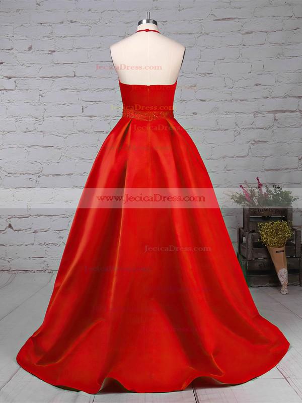 Satin Princess Halter Sweep Train Beading Prom Dresses #JCD020105851