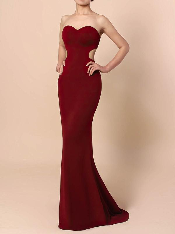 Silk-like Satin Sheath/Column Sweetheart Sweep Train Prom Dresses #JCD020105854