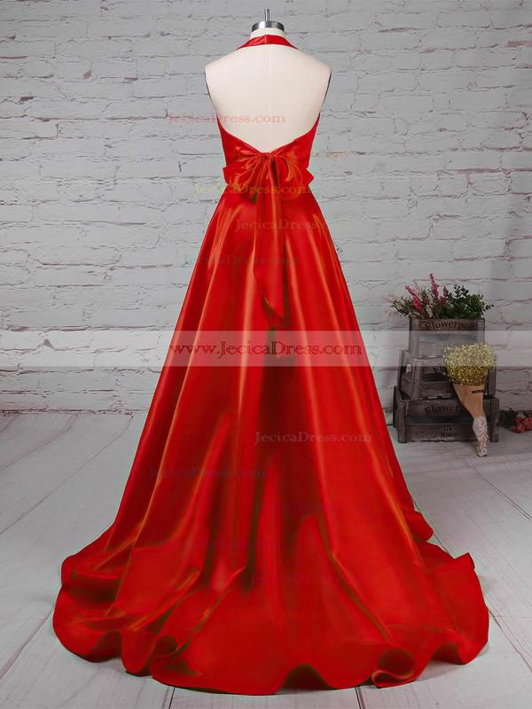 Satin Princess Halter Sweep Train Bow Prom Dresses #JCD020105868