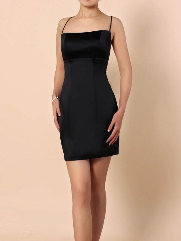 Silk-like Satin Sheath/Column Square Neckline Short/Mini Draped Prom Dresses #JCD020105905