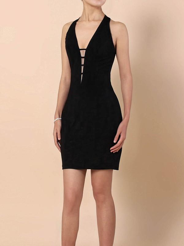 Jersey Sheath/Column V-neck Short/Mini Draped Prom Dresses #JCD020105907