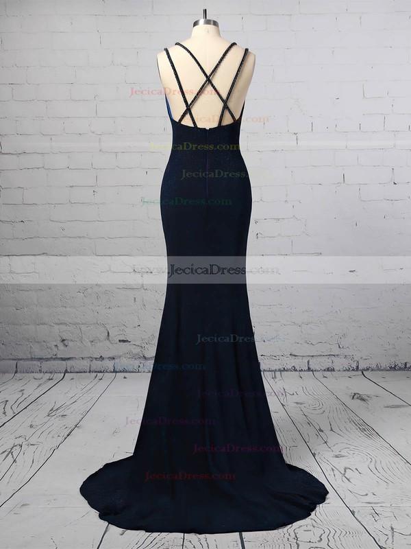 Sequined Trumpet/Mermaid V-neck Sweep Train Split Front Prom Dresses #JCD020106416