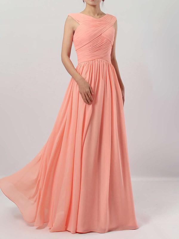 A-line V-neck Chiffon Floor-length Ruffles Bridesmaid Dresses #JCD01013494