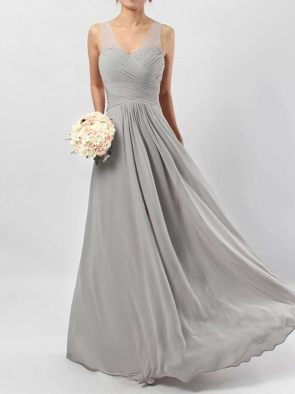 A-line V-neck Chiffon Floor-length Ruffles Bridesmaid Dresses #JCD01013533