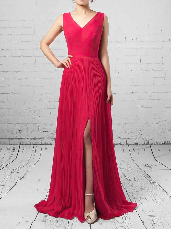 A-line V-neck Chiffon Floor-length Split Front Bridesmaid Dresses #JCD01013579