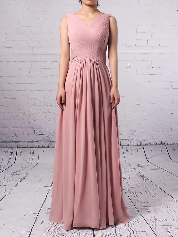 Empire V-neck Chiffon Floor-length Ruffles Bridesmaid Dresses #JCD01013481