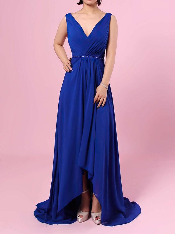 A-line V-neck Chiffon Asymmetrical Beading Bridesmaid Dresses #JCD01013565