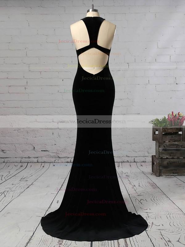 Trumpet/Mermaid V-neck Velvet Sweep Train Prom Dresses #JCD020105099