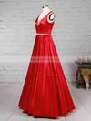 Princess V-neck Satin Floor-length Beading Prom Dresses #JCD020105875